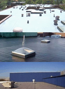 three examples of finished commercial roofing jobs
