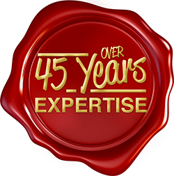 Over 45 Years Expertise Seal